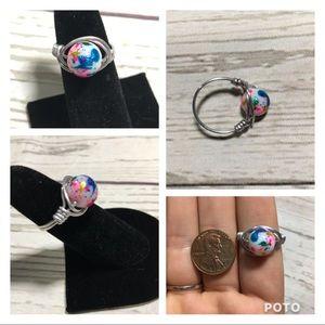 Unicorn multi color silver wire ring handmade